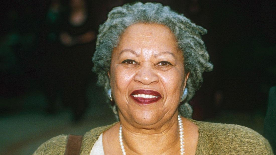 Toni Morrison 1998 Wearing Pearl Necklace, White Top and Green Sweater