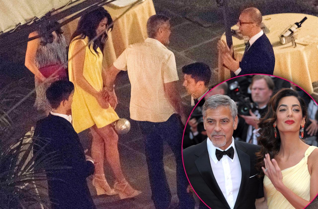 George Clooney amal romantic dinner twins
