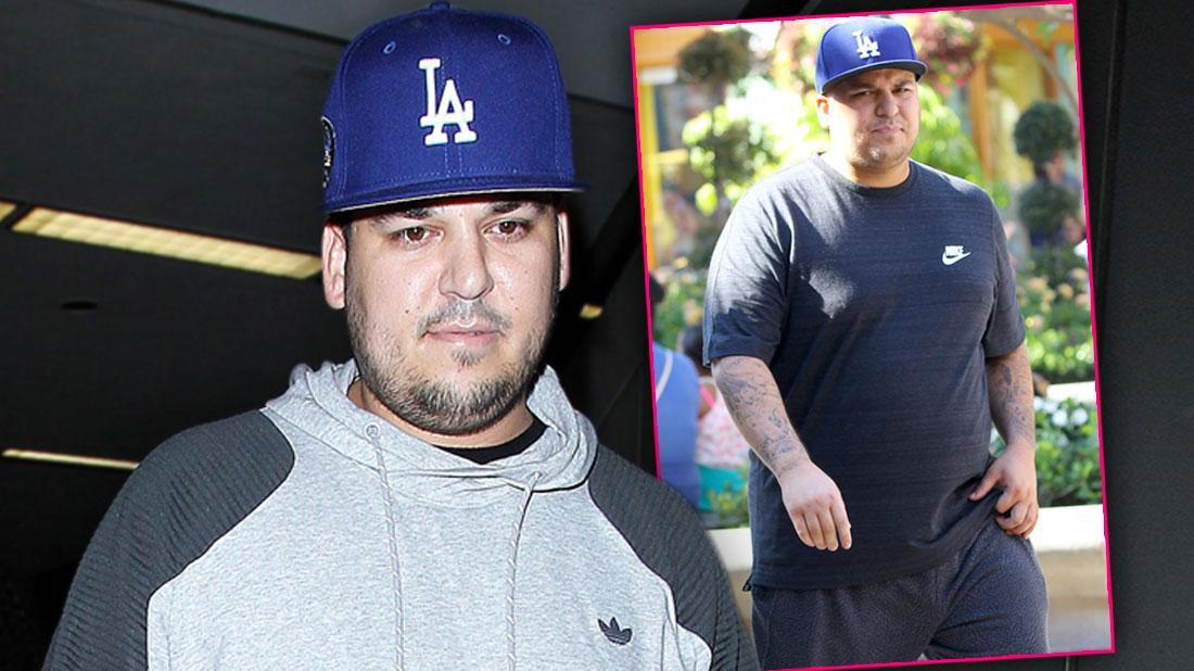 Rob Kardashian Looking Heavy in Gray Sweatshirt and LA Baseball cap, Inset In Blue T-Shirt With LA Baseball Cap, Checking Into Health Farm Amid Weight Woes