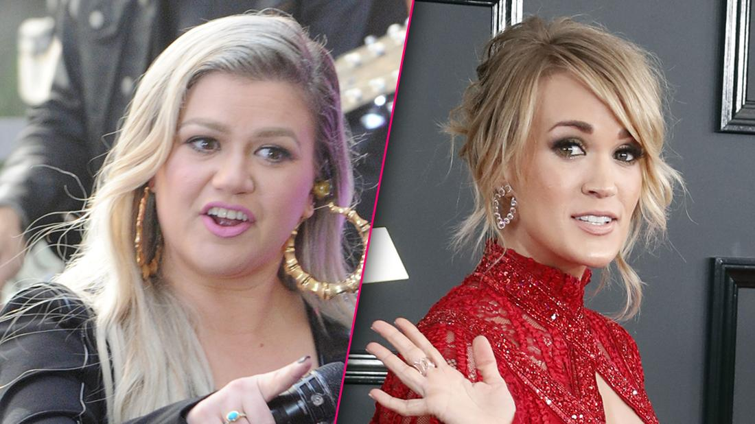 Kelly Clarkson Looking Angry with Split of Carrie Underwood Looking Serious