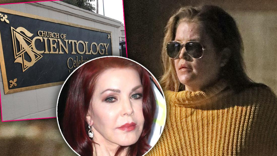 Inset Scientology Celebrity Center Sign, Inset Pricilla Presley, Lisa Marie Presley Wearing Sunglasses and Baggy Yellow Sweater