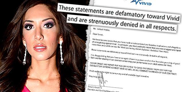 //farrah abraham legal letter porn drugged raped promoting backdoor teen mom vivid  wide