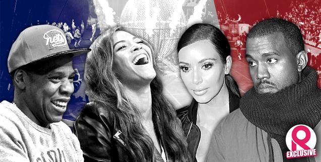//jay z beyonce talk behind kanye west kim kardashian back circus goes to paris wide