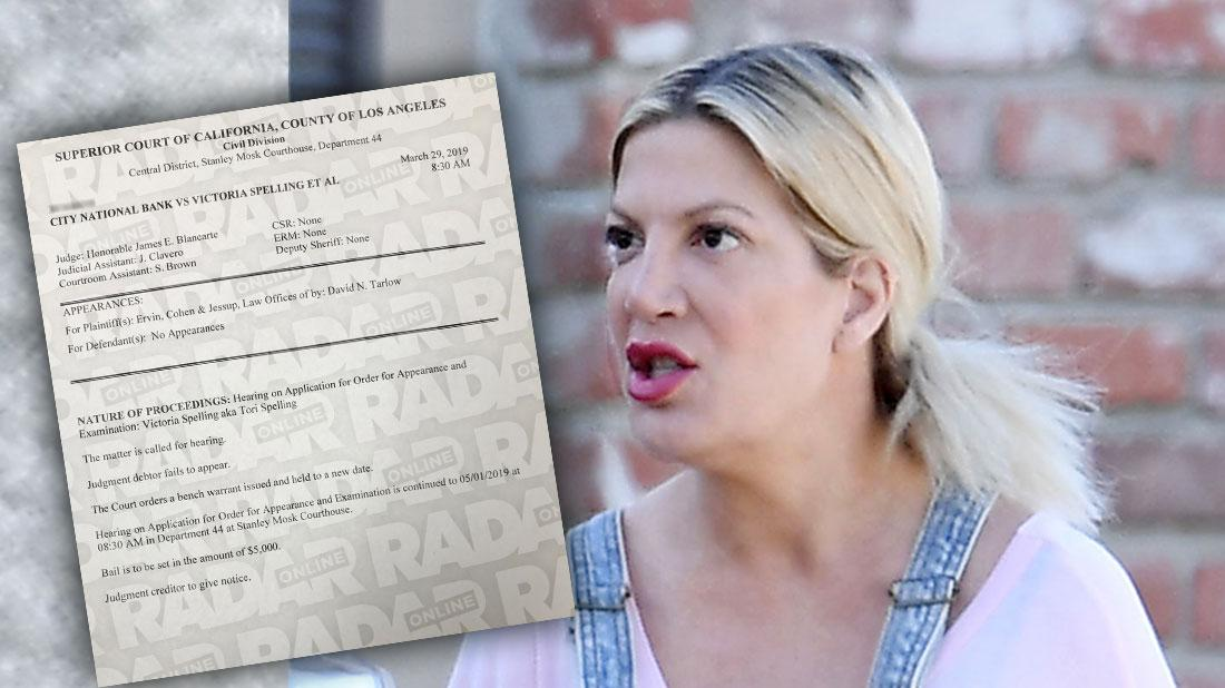 Judge Issues A Bench Warrant For Tori Spelling's Arrest