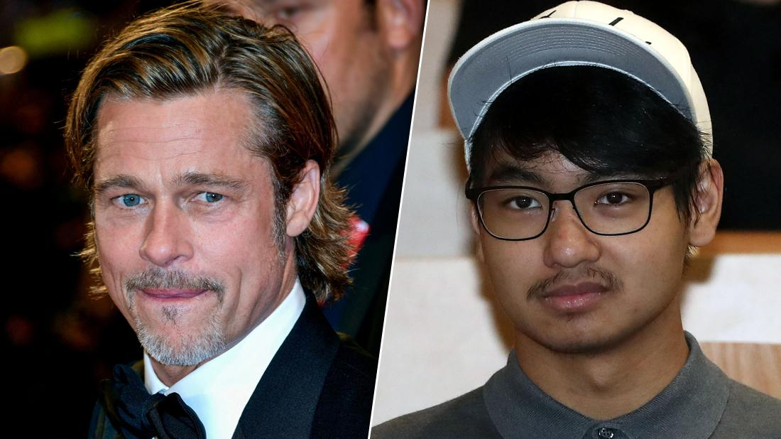 Brad Pitt Looking Estranged with Inset of Son Maddox Jolie-Pitt Looking Serious