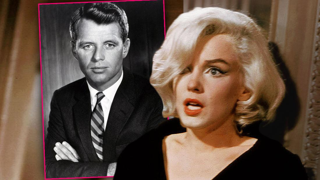 BW Inset of Robert F. Kennedy (Bobby Kennedy), Marilyn Monroe looking scared