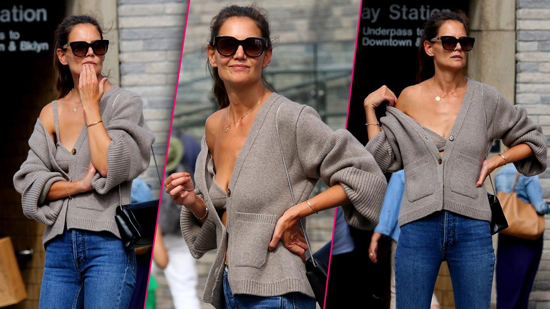 Katie Holmes Flaunts Cleavage in Loose Gray Sweater and Matching Bra