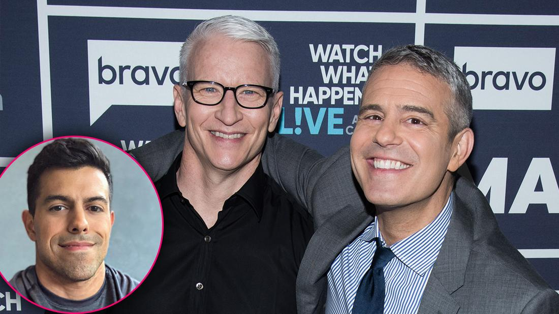 Andy Cohen Smiling Arm Around Anderson Cooper Smiling Inset of Ex Boyfriend Dr. Victor Lopez Selfie Smiling
