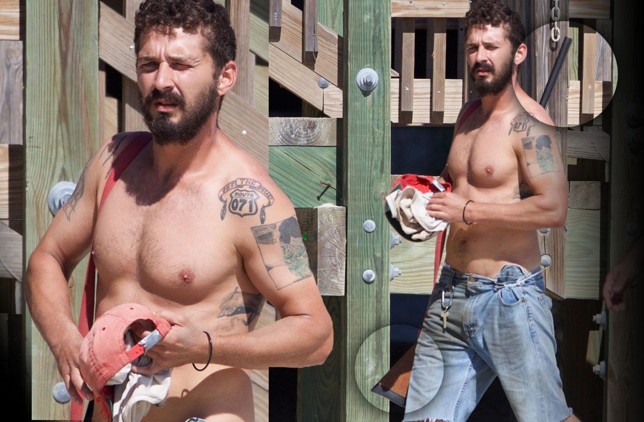 //Shia labeouf shirtless beach shotgun