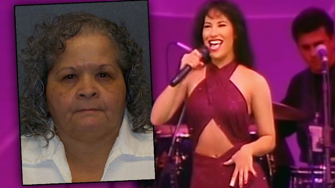 Inset Mugshot of Yolanda Saldivar, Selena Quintanilla Performing in Purple