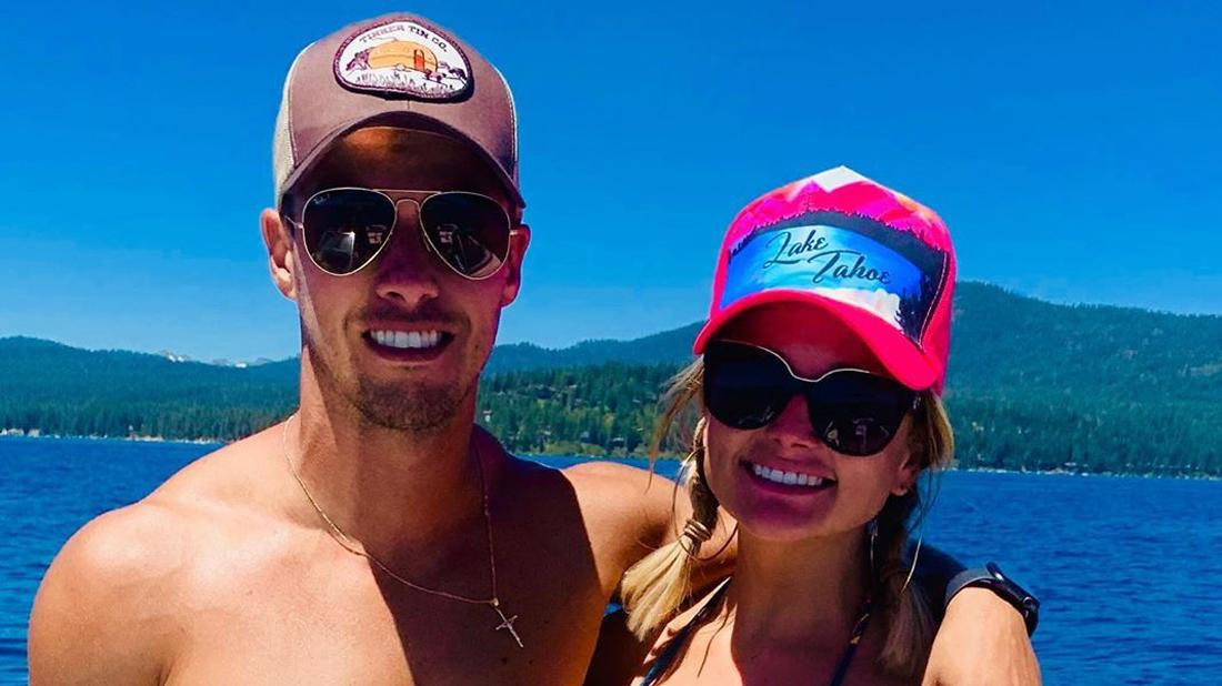 Brendan McLoughlin and Miranda Lambert wear caps while at Lake Tahoe