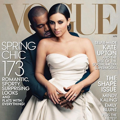 //kanye west kim kardashian vogue cover square