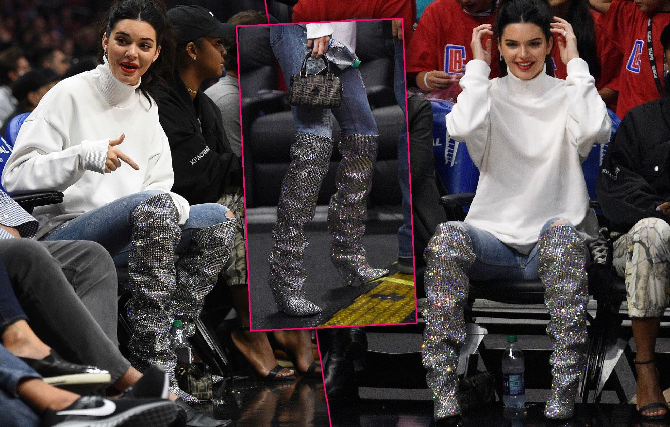 Kendall Jenner Wears 1Ok Boots At Blake Griffin Clippers Game