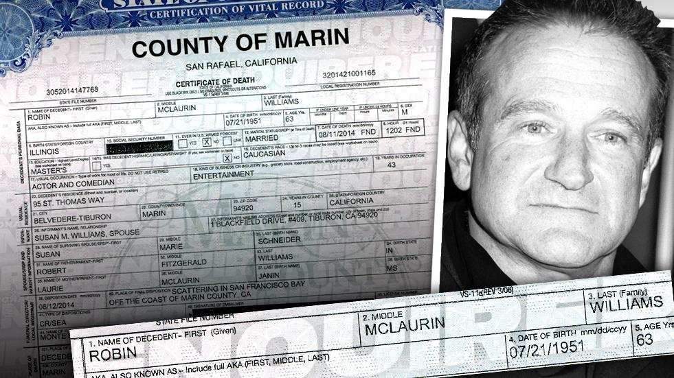 //robin williams death certificate suicide marin county pp sl