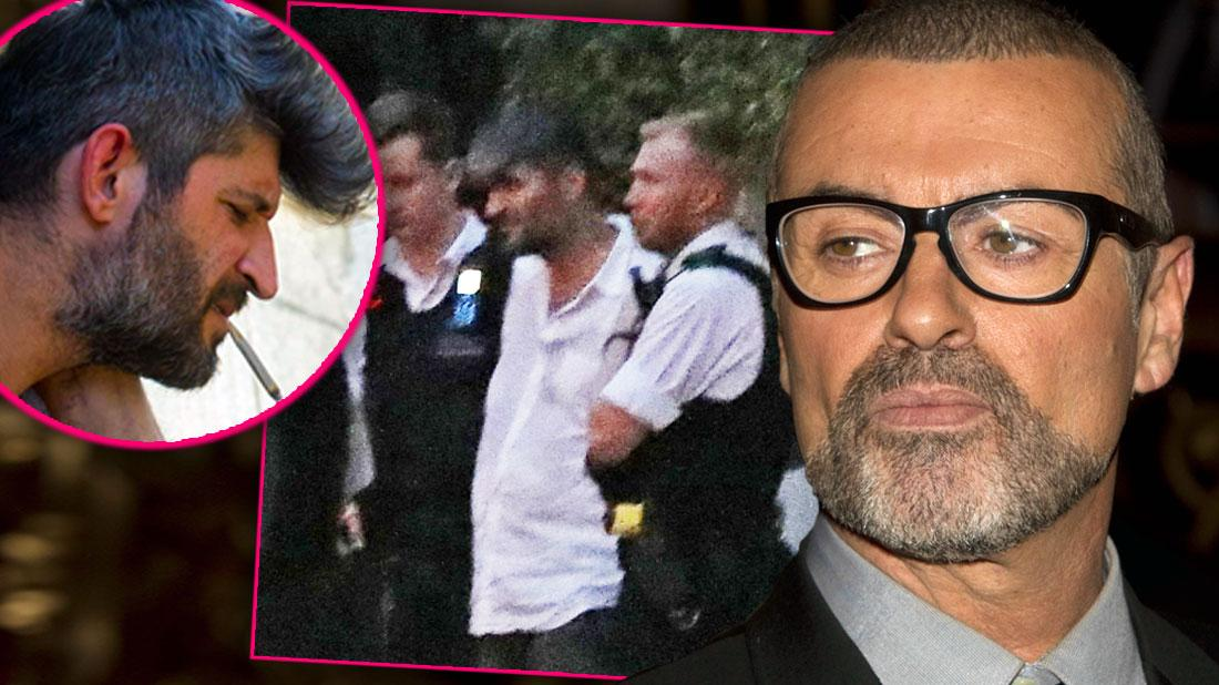 Fadi Fawaz smoking, Fadi Fawaz Wearing White Shirt Being Arrested, George Michael in Glasses