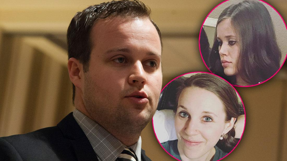 Josh Duggar In Suit With Mouth Agape With Inset Of Jessa Jana Jill Jinger Duggar Smiling