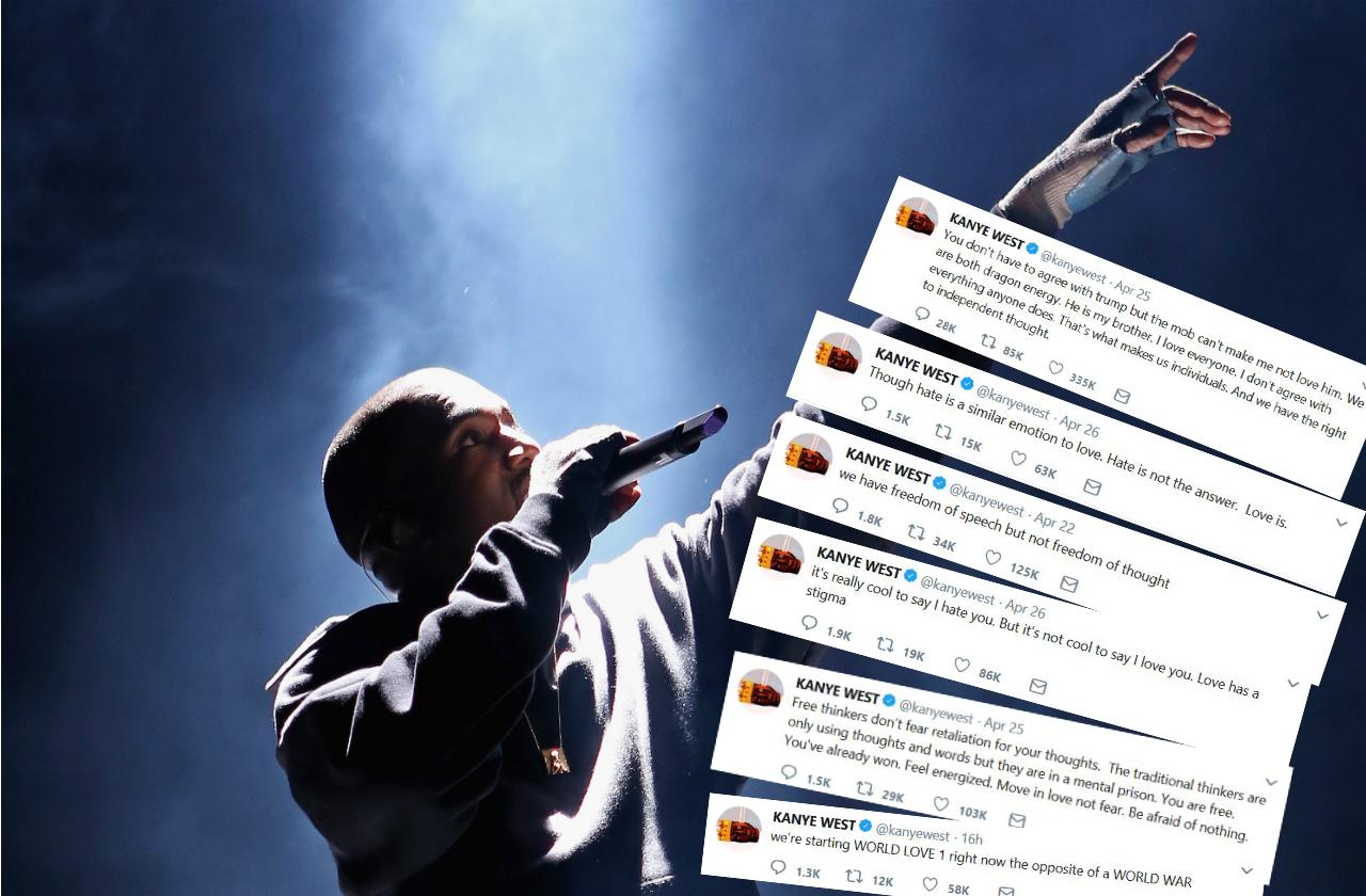 Kanye West dropping controversial tweets about Donald Trump and freedom of thought