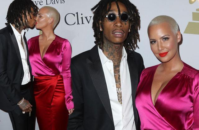 Amber Rose Wiz Khalifa Back Together Grammys Kissing Red Carpet Pics