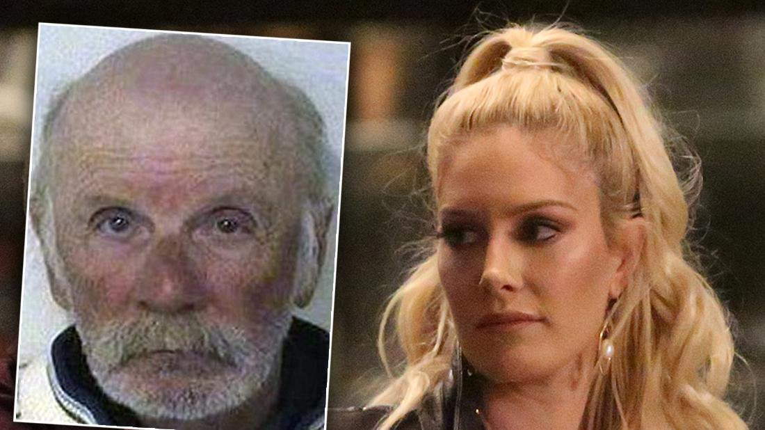 Heidi Montag Closeup Looking Serious With Inset of Father Mugshot Abuse