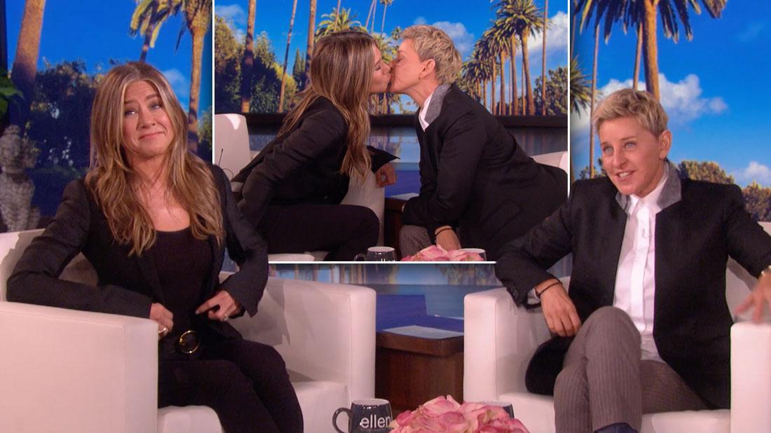 Jennifer Aniston & Ellen DeGeneres Kiss On The Lips During Show