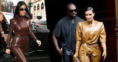 Kim Kourtney Latex Suits Attend Kanye's Church Service