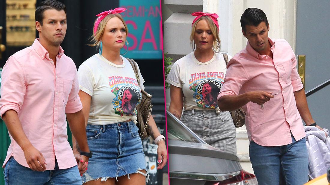 Miranda Lambert and Husband Brendan McLoughlin Seen Walking Holding Hands Outside In Matching Pink and Denim Outfits