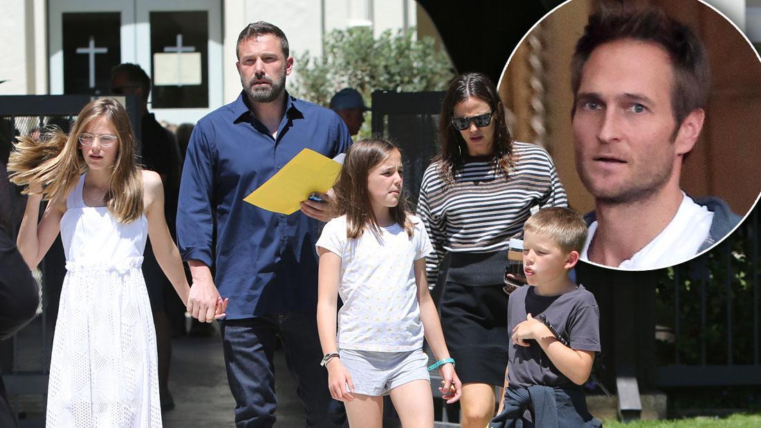 Ben Affleck and Jen Garner with their kids, inset her boyfriend John Miller