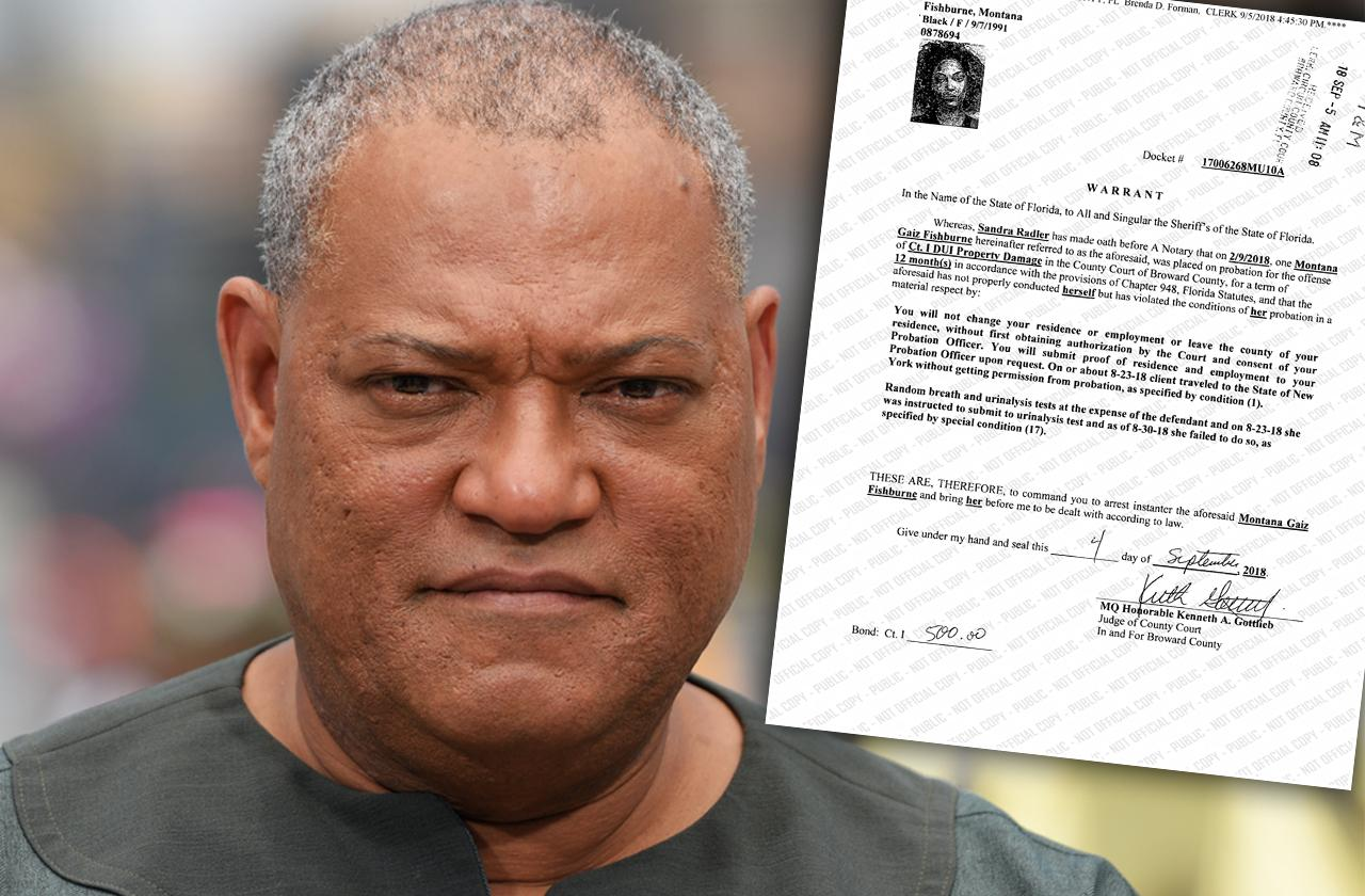 laurence fishburne daughter warrant arrest violate probation dui