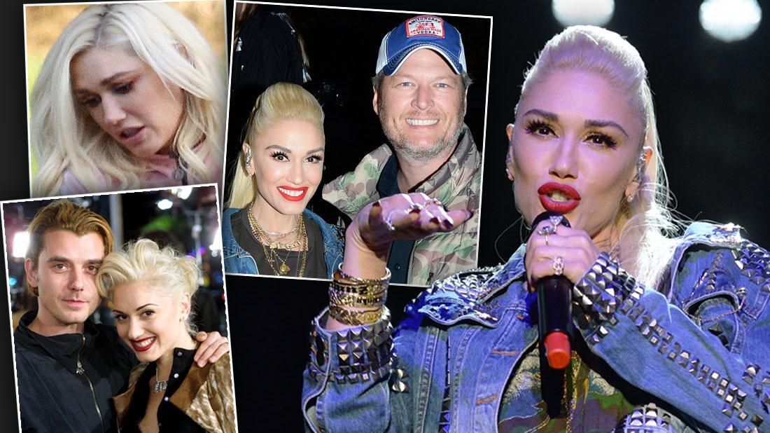 Gwen Stefani Performing Wearing Studded Jean Jacket Inset Of Gwen And Blake Shelton, Inset Of Gwen And Gavin Rossdale, Inset Sad Gwen