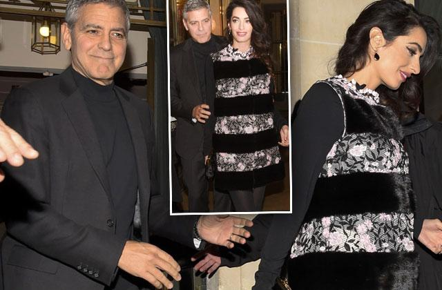 George Amal Clooney Pregnant Twins Baby Bump