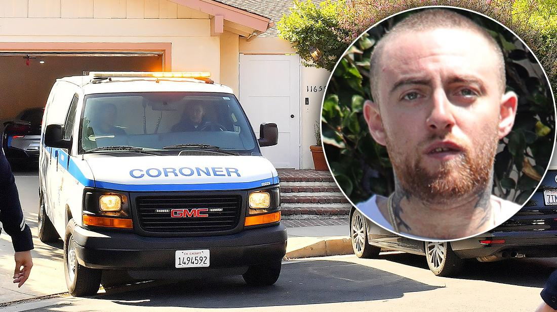Crime Scene Where Mac Miller Was Found Dead with Inset of Mac Miller looking Worried