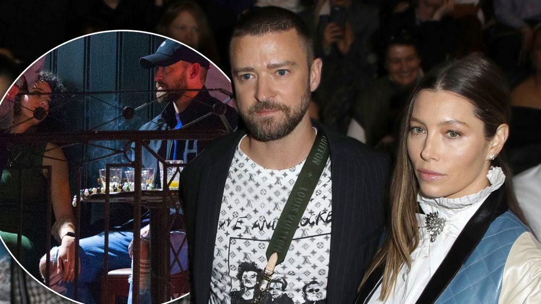 Justin Timberlake tenderly locks hands with beautiful co-star Alisha Wainwright, Justin and Jessica Biel