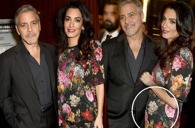 Amal Clooney Baby Bump Pregnant Flower Dress