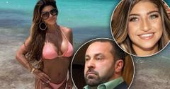 Teresa Giudice Wearing Sunglasses and Pink Bikini On the Beach Smiling, Inset of Joe Giudice Looking Mad, Inset Smiling Gia Giudice
