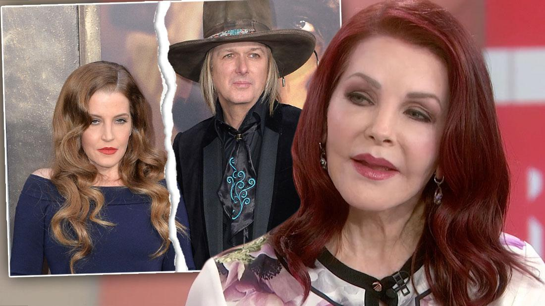Inset Of Torn Photo Of Lisa Marie Presley and Michael Lockwood, Priscilla Presley with Floral Shirt