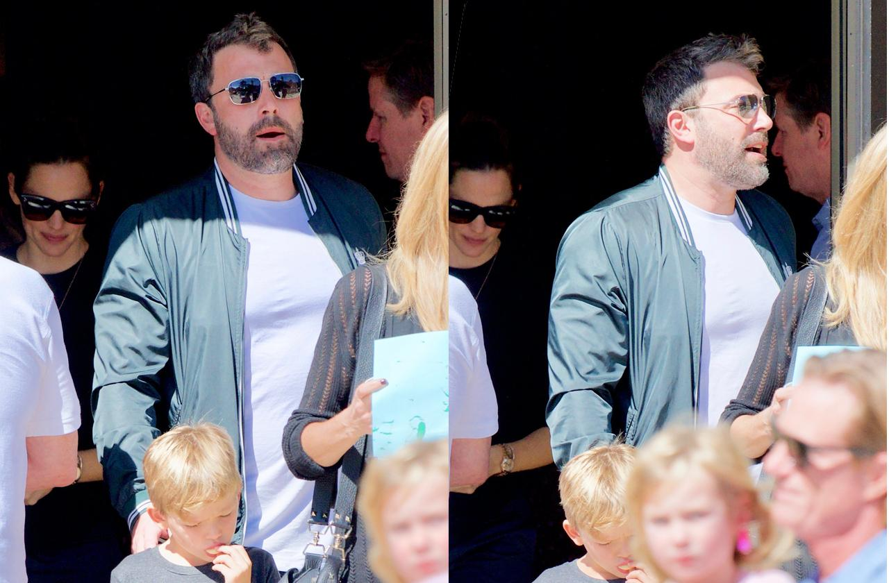 //ben affleck goes to church with jennifer garner and three kids pp