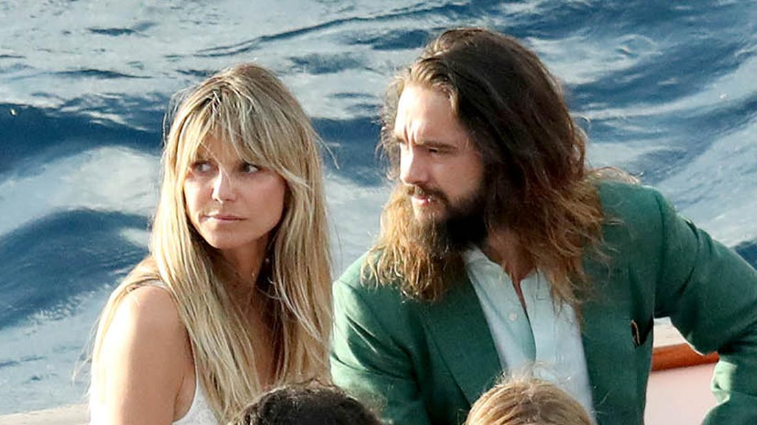 Heidi Klum and Husband Tom Kaulitz Looking Concerned on a Boat Near Water