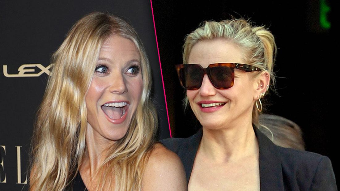 Smiling Gwyneth Paltrow Looking Right, Smiling Cameron Diazwearing Sunglasses and Looking Left