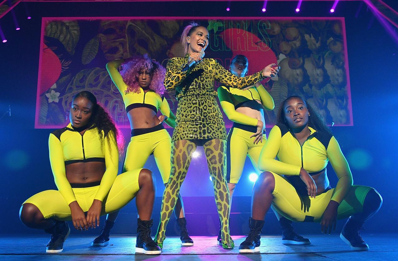 Rita Ora Green Leopard Print Bodysuit