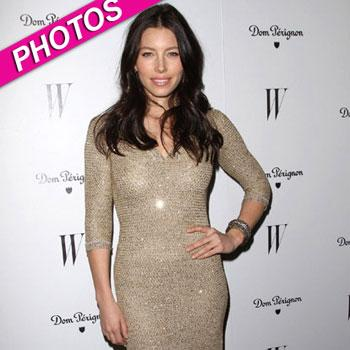//jessica biel w magazine party post