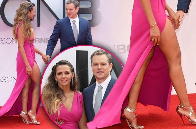 Jason Bourne Premiere Matt Damon Wife Luciana Barroso Dress