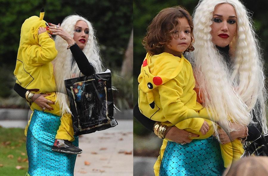 //pregnant gwen stefani hide baby bulge mermaid costume pp