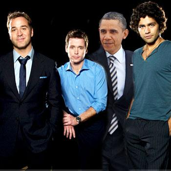 //president obama appears entourage
