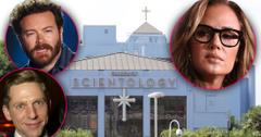 Church of Scientology Building From Outside With Insets of Serious Danny Masterson Leah Remini and David Miscavige