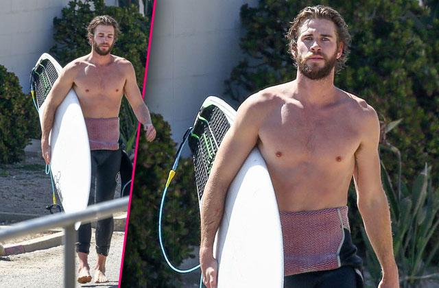 Liam Hemsworth Shirtless Tattoo Surfing Malibu
