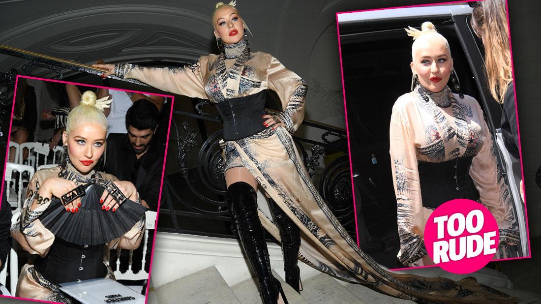 Christina Aguilera Barely Avoids Embarrassing Wardrobe Malfunction At Fashion Show