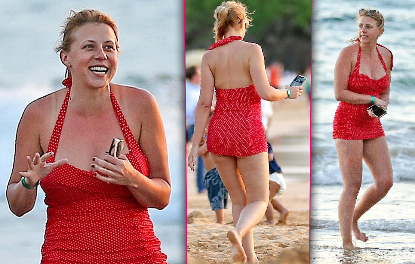 Jodie Sweetin Spotted In Full Red Swimsuit New Years