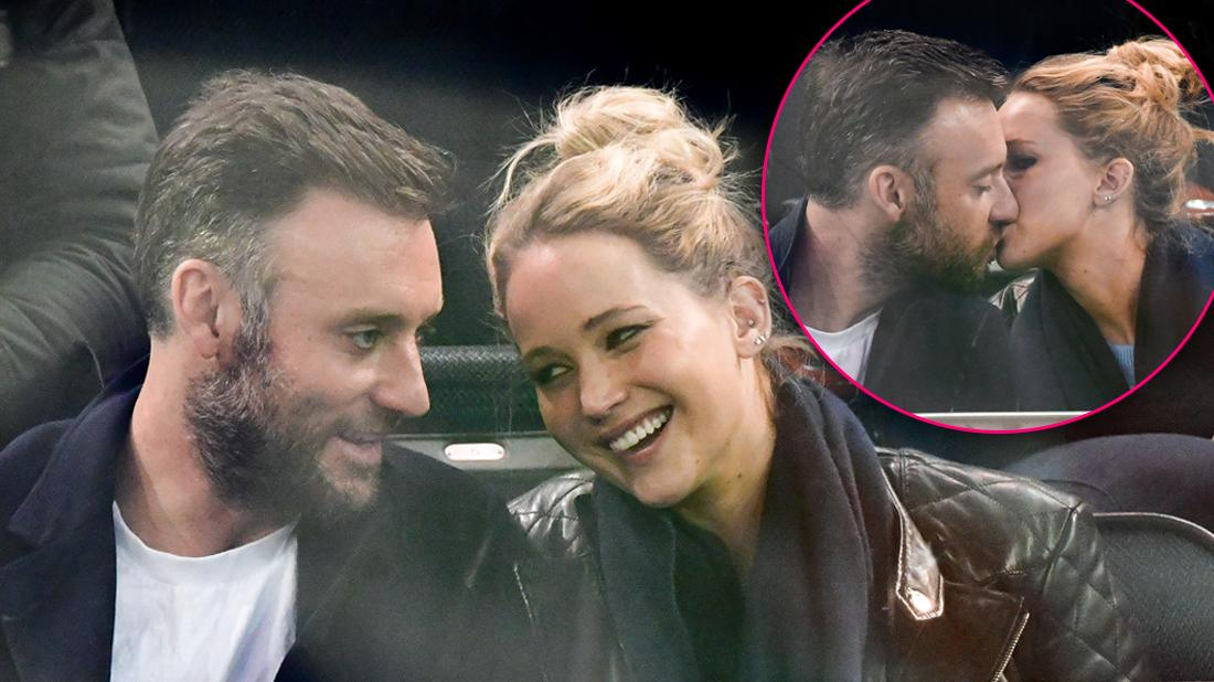 Jennifer Lawrence and Cooke Maroney Smiling At One Another With Inset of Them Kissing Marriage Rumors in NYC