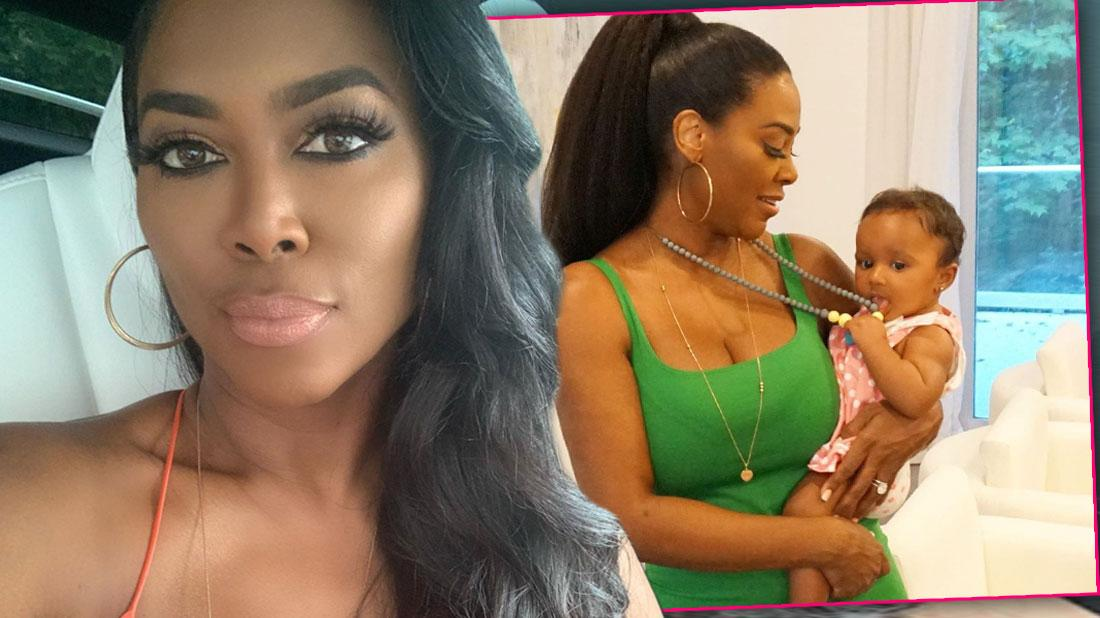 Close Up Of Kenya Moore Wearing Orange Spaghetti Strap Top, Inset of Kenya Moore Wearing Green Tank Top With Brown Bead Necklace Holding Brooklyn Doris Dalyand