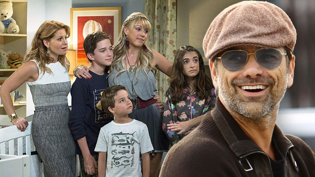 Cast Of Fuller House, John Stamos Wearing Light Brown Cap, Sunglasses, Dark Brown Sweater and Jeans